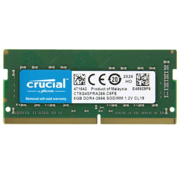 CRUCIAL - MEMORIA 8GB DDR4 2666 SODIMM PC4-21300 CL19 SIN BÚFER NO ECC 1.2V (CT8G4SFRA266)